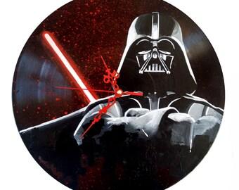 Star wars, Darth vader, hand painted vinyl record clock
