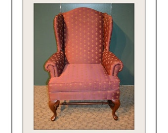 Queen Anne Style Wing Chair w/Stretcher Base