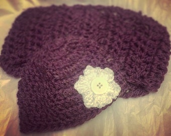 Woman's Crochet Cowl And Matching Crochet Hat With Flower