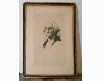 Vintage 1919 Drypoint Etching of George Washington published by Anderson Galleries, Chicago SIGNED