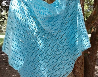 Ocean Waves Hooded Crochet Poncho