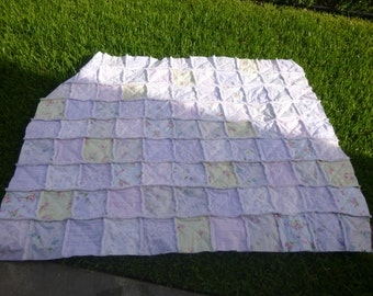 """Shabby Chic Rag Quilt Throw Blanket  Large 60"""" x 73"""" Perfect for gift giving, 100% cotton, Rachel Ashwell Prints"""