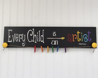 Every Child Is An Artist - Kids Artwork Display  - Childs Artwork Display - Childrens Artwork Display - Kid's Room Decor - Playroom Sign