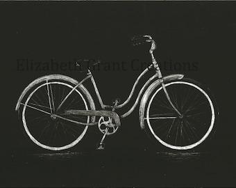 Vintage Bike Scratchboard Art 5x7
