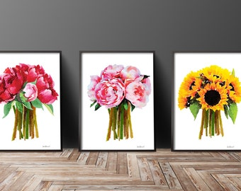 Poster Set of 3 Watercolor flower Peony Sunflower Rose art print, watercolour, Peonies, Sunflowers,decor, bedroom decor fashion illustration