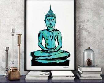 Digital Poster Buddha Green watercolor Buddhism zen 24×36 Buddha Wall Art Yoga Print Watercolour Buddha Print Yoga Poster zen yoga studio