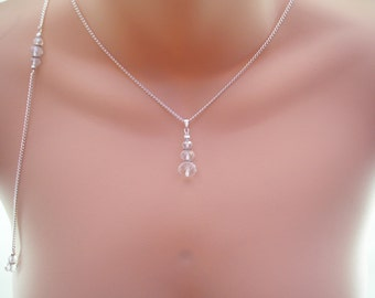Angela ~ Clear Crystal Drop Backdrop necklace, Silver plated chain, Suit low or backless dress, Vintage look (91c)