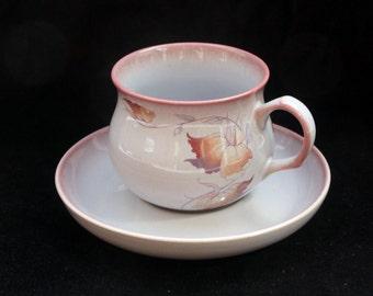 Handcrafted Denby Stoneware Cup and Saucer in the Twilight Pattern (Special offer for six available) Excellent Special Offer