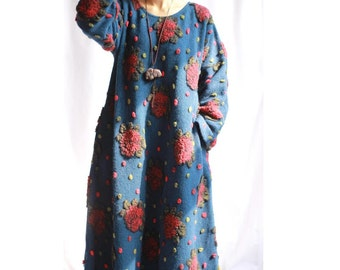 Womens Winter Loose Fitting Thickened Warm Cashmere Jacquard Robe Dress With Pockets, Womans Winter Dress, Long Dress, Woollen Dress