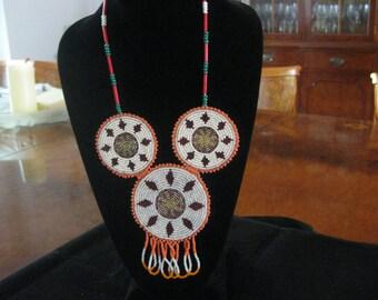 Terrific Souvenir Vintage Orange Brown Glass Seed Bead Iroquois Algonquin Medallion Necklace Native American Tribal