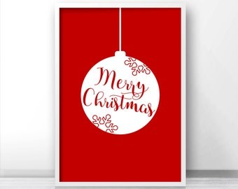 Instant Download Christmas Print, Christmas Wall Art Print, Red And White Merry Christmas Print, Download Print