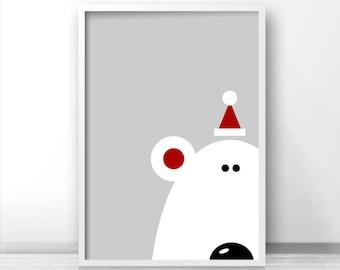 Instant Download Christmas Print, Printable Christmas Wall Art, Bear Print, Christmas Decor