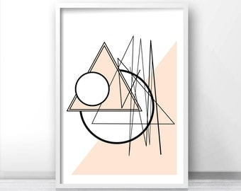 Abstract Geometric Wall Art Print, Instant Download Printable Art, Digital Download Art, Modern Print, Pink Decor, Modern Wall Art, Pink Art