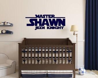 Personalized, Master, Jedi, Knight, Name, Vinyl, Wall, Decal, Bedroom, Nursery, Boy, Children, Teen, Star Wars