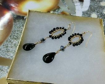 Black beads earring