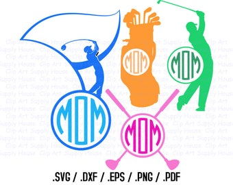 Golfing Monogram SVG, Golf Clip Art, Golf Sport Design Files, Silhouette Software, dxf files, EPS File, Cricut Design Space - CA280