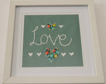 Hand embroidered LOVE picture with frame/Love picture/embroidery love/embroidery art/Love embroidery/Love picture