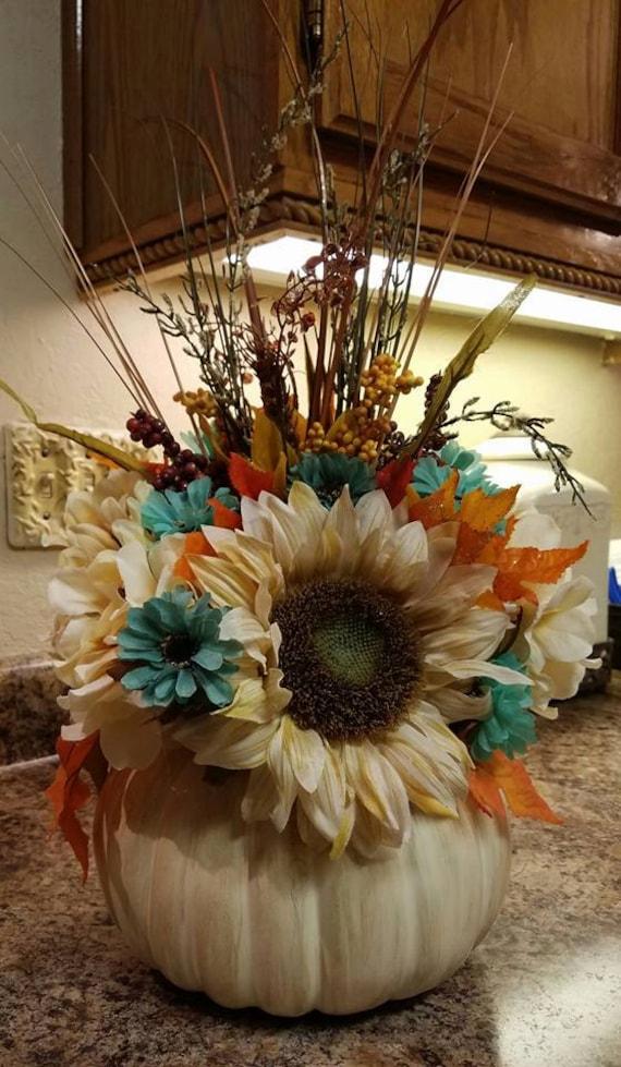 Fall Flower Centerpiece Thanksgiving Pumpkin