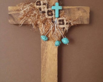 Cross, Stained, Brown, Turquoise, Cheetah, Leopard, OOAK, Religious, Christian