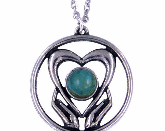 Turquoise Holding onto love Pendant Necklace- Hand Made in UK