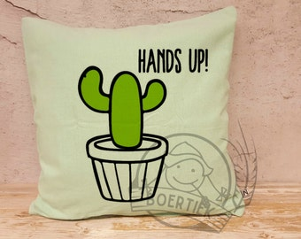 Cushion cover cactus 40x40 cm, hands up! [Only the cover] Mint-colored.