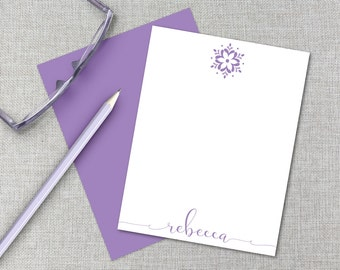 Personalized Stationery / Personalized Stationary Set / Custom Monogram Stationary / Personalized Thank You Card / Flower Flat Note Cards