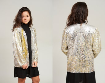1980s Silve and Gold Sequin Jacket Top • L [FWB]