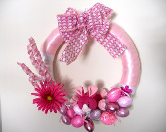 Easter Wreath - Pink Bunny