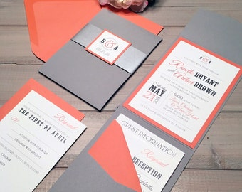 Gray And Coral Wedding Invitations, Modern Wedding Invitations, Coral, Gray  And Silver Wedding