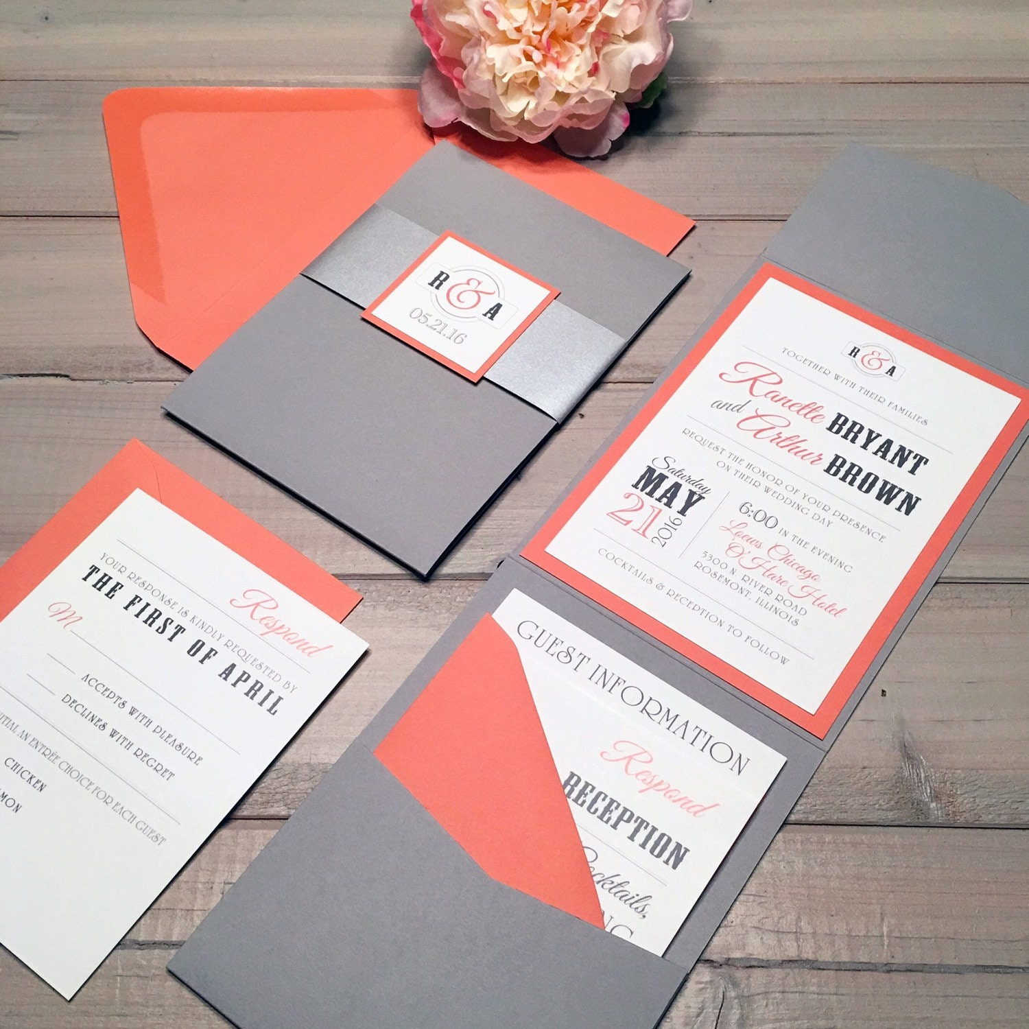 Coral Wedding Invitations: Gray And Coral Wedding Invitations Modern Wedding