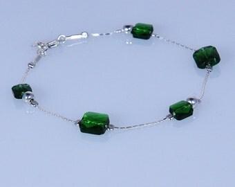 925 Sterling Silver Bracelet Peridot Green Dainty Made in England
