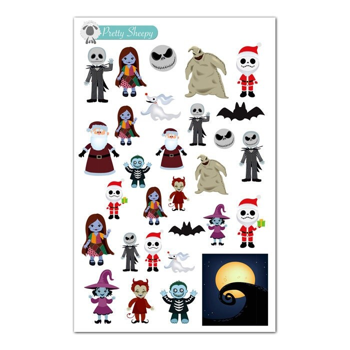 Character Design Nightmare Before Christmas : Nightmare before christmas character stickers disney planner