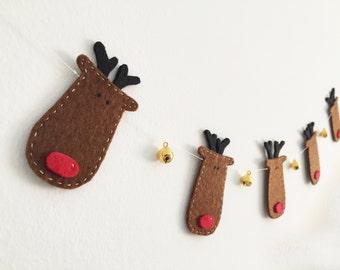 Reindeer garland Christmas decor Rudolph garland Holiday decor Jingle bells Christmas garland Party Christmas gift Carolers Bunting gifts