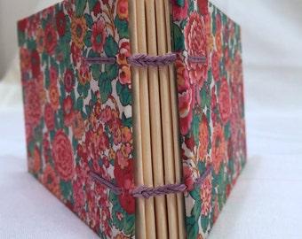 Handbound notebook floral pink and blue