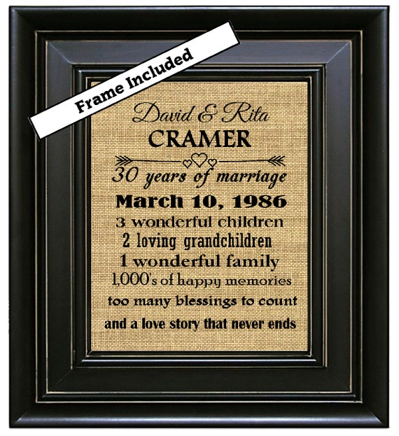 Wedding Anniversary Gifts For Parents 30 Years : ... Wedding Anniversary Print 30 years of Marriage Framed Gift for parents