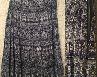 CLEARANCE SALE - Chaps Denim - long floral/tribal print layered skirt - size ladies 10