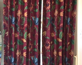 Curtain Panels - Burgundy Floral Bird Drapes - Window Treatments - Sold in Pairs