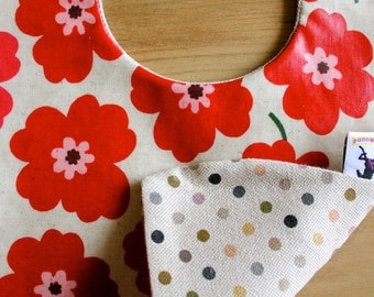 Bright RED poppy flowers baby bib, versatile & water resistant