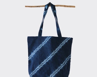 Gift for her Indigo Shibori dyed handbag. Girlfriend gift. Indigo Tote bag.  Boho tote bag, natural indigo dye, tie dye tote, travel gift