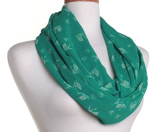 Chiffon Infinity Scarf / Green Swan Eternity Scarf / Gift for Her / Womens Ladies Circle Loop Scarves / Mothers Day / Spring Summer Fashion