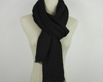 Black Scarf Fringe Scarf Summer Scarf Black Long Scarf Black Fringe Scarf Solid Scarf Black Shawl Large Scarf Shawl Solid Color Scarf Wrap