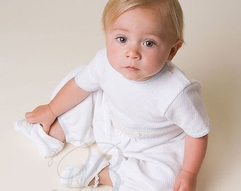 Boys Christening Outfit, Harrison Short Sleeve Jumpsuit, Baptism