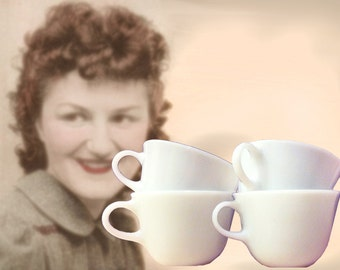 Set of Four Pyrex Milk Glass Midcentury Coffee Cups