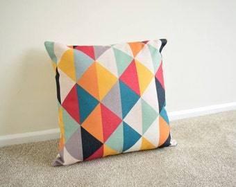 "Multi Coloured, Geometric, Scandinavian, kids Room, home decor Cotton Linen Cushion/Pillow Cover 18 x 18"""