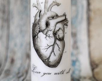 Anatomical heart pillar candle