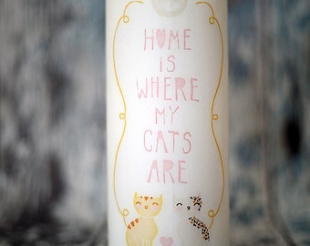Cat candle with names