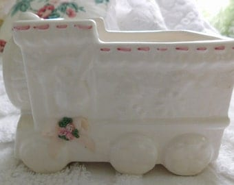 Vintage Ceramic Train Baby/Nursery Planter/ Ivory and Pink