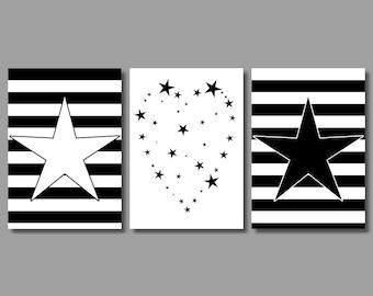 WALL ART Nursery Decor Print Set Childrens Bedroom Stars Stripes Black n White, 3 x A4
