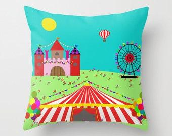 Circus pillow cover-Ferris wheel-Castle cushion-Nursery-Floor pillow-Kids