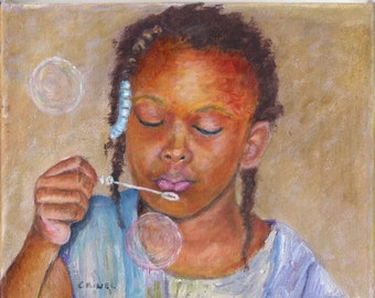 """Blowing Bubbles; by Barbara Criner, Original Oil Painting, African American Art 8""""x10"""""""